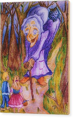 Wood Print featuring the drawing Hansel And Gretel by Rae Chichilnitsky
