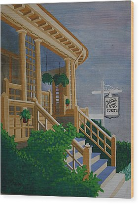 Wood Print featuring the painting Hansen House by Paul Amaranto