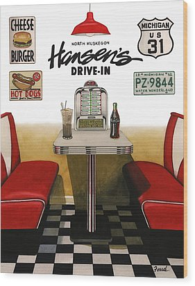 Hansen's Drive-in Wood Print