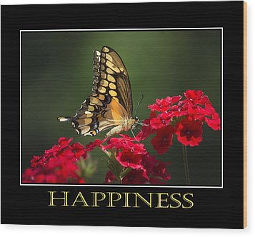 Happiness Inspirational Poster Art Wood Print by Christina Rollo