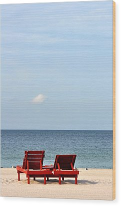 Happiness Is A Beach Wood Print by Rose  Hill