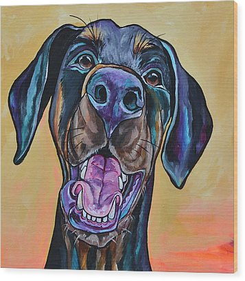 Happiness Is A Dog Wood Print by Patti Schermerhorn
