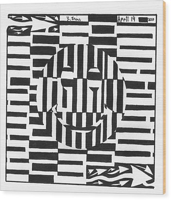 Happiness Is An Illusion Maze Wood Print by Yonatan Frimer Maze Artist