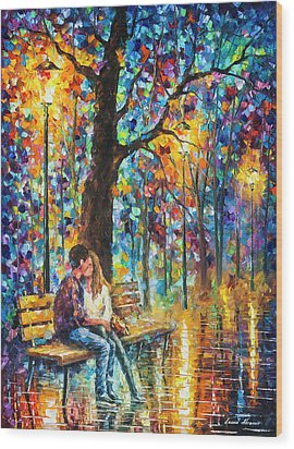 Happiness   Wood Print by Leonid Afremov