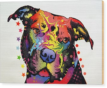 Happiness Pitbull Warrior Wood Print by Dean Russo