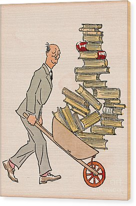 Wood Print featuring the drawing Happy Bibliophile 1930 by Padre Art