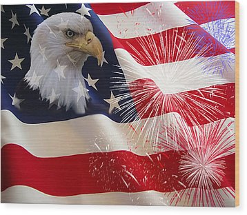 Happy Birthday America Wood Print by Evelyn Patrick