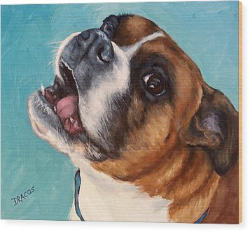 Happy Boxer Dog Wood Print by Dottie Dracos