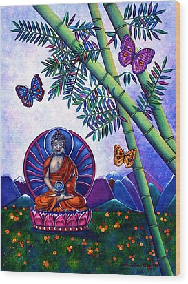 Wood Print featuring the painting Happy Buddha And Prosperity Bamboo by Lori Miller
