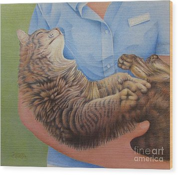 Happy Cat Wood Print by Pamela Clements