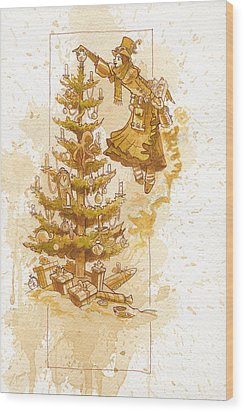Happy Christmas Wood Print by Brian Kesinger