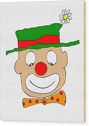 Happy Clown Wood Print by Michal Boubin