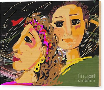 Happy Couple Wood Print by Elaine Lanoue