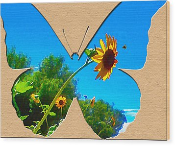Happy Day Greeting Card Wood Print by Adele Moscaritolo