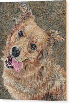 Happy Dog Wood Print by Joanne Stevens