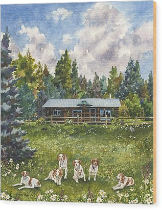 Wood Print featuring the painting Happy Dogs by Anne Gifford