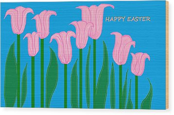 Happy Easter 1 Wood Print by Linda Velasquez