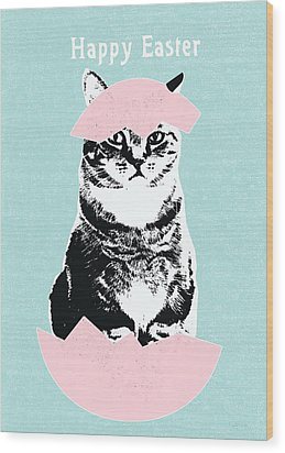 Happy Easter Cat- Art By Linda Woods Wood Print