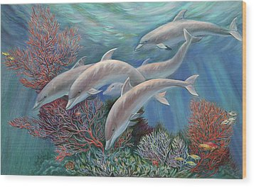 Happy Family - Dolphins Are Awesome Wood Print by Svitozar Nenyuk