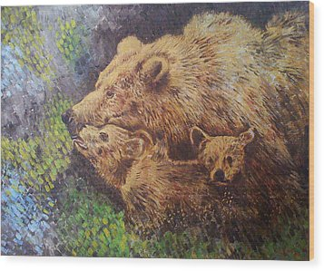 Grizzly Bear Wood Print by Remy Francis