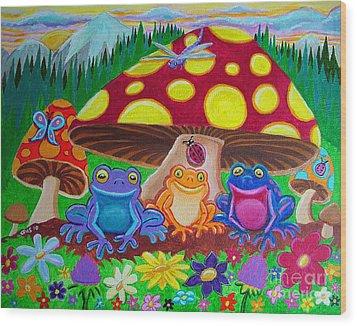 Happy Frog Meadows Wood Print by Nick Gustafson