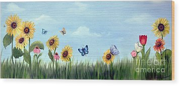 Wood Print featuring the painting Happy Garden by Carol Sweetwood