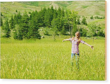 Happy Girl Enjoying Nature Wood Print by Anna Om