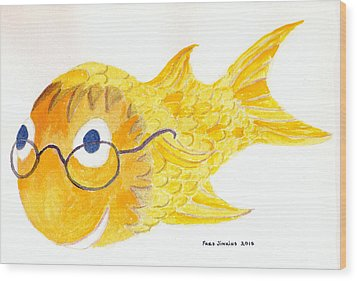 Happy Golden Fish Wood Print by Fred Jinkins