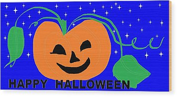 Happy Halloween 1 Wood Print by Linda Velasquez