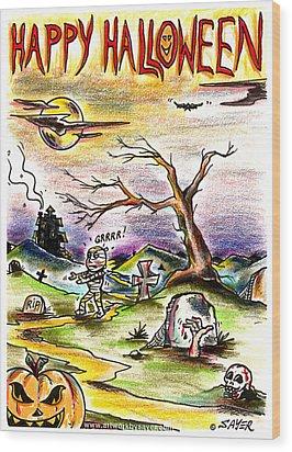 Happy Halloween Wood Print by James Sayer