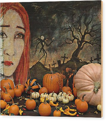 Happy Halloween Wood Print by Jeff Burgess