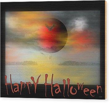 Happy Halloween Wood Print by Linda Galok