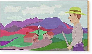 Happy Highland Farm Wood Print by Fred Jinkins