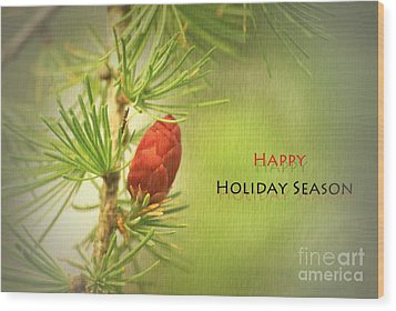 Happy Holiday Season Card Wood Print by Aimelle
