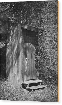 Happy Hollow Outhouse Wood Print