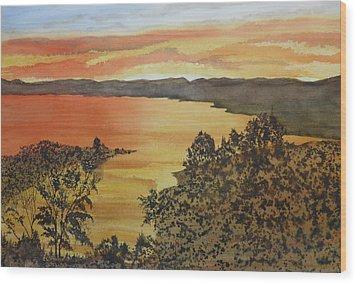 Wood Print featuring the painting Happy Hour by Joel Deutsch