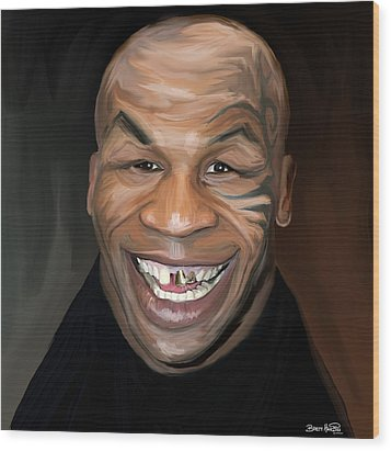 Happy Iron Mike Tyson Wood Print by Brett Hardin
