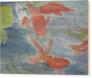 Happy Koi Wood Print