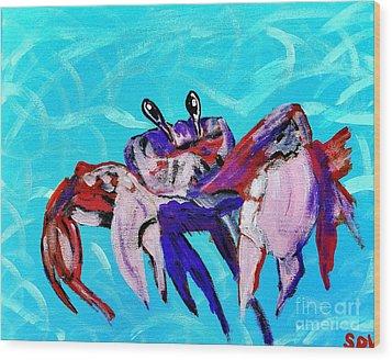 Happy Little Crab  Wood Print by Scott D Van Osdol