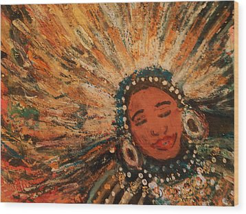 Happy Mardi Gras Woman With Feathers II Wood Print by Anne-Elizabeth Whiteway