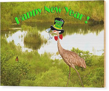 Happy New Year Card Wood Print by Adele Moscaritolo