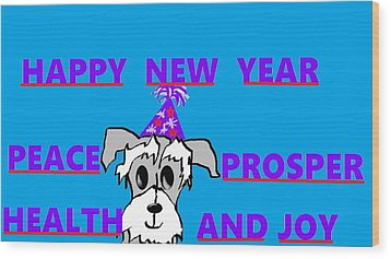 Happy New Year Wood Print by Linda Velasquez