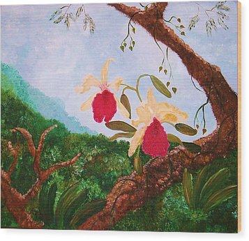 Happy Orchids Wood Print by Alanna Hug-McAnnally