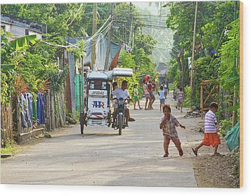 Happy Philippine Street Scene Wood Print by James BO  Insogna