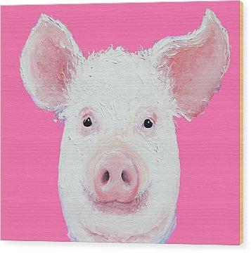 Happy Pig Portrait Wood Print by Jan Matson