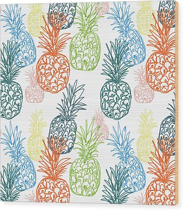Happy Pineapple- Art By Linda Woods Wood Print