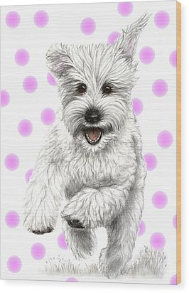 Wood Print featuring the drawing Happy Pink Polka Dots Doggy  by Heidi Kriel