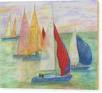 Happy Sailing Wood Print by Jeanne Kay Juhos