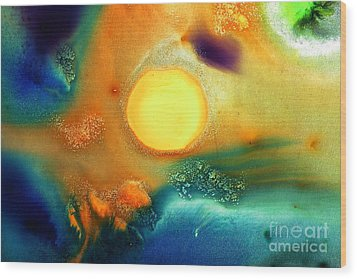 Happy Sunrise Fluid Abstract Art Liquid Painting By Kredart Wood Print by Serg Wiaderny