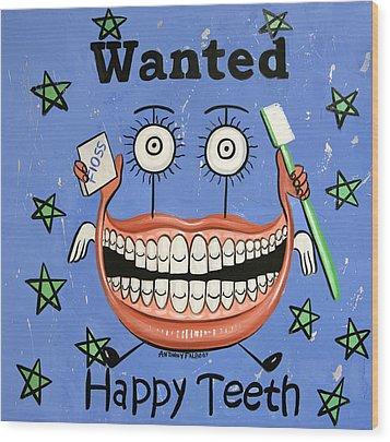Happy Teeth Wood Print by Anthony Falbo
